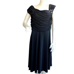 Black Gathered Ruched Rhinestone Dress